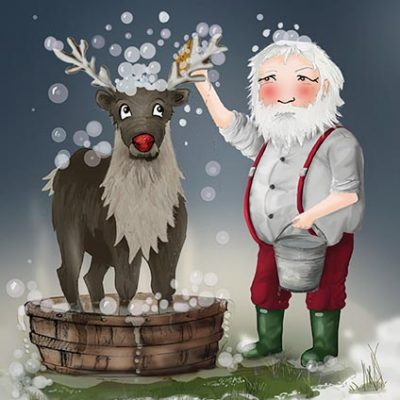 Elves on Strike - Rudolph's bath time Greeting Card