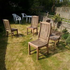 garden furniture getting a sand